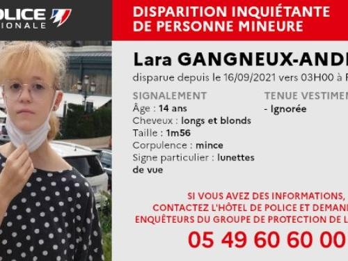 Disparition inquiétante d'une adolescente de 14 ans à Poitiers, la police lance un appel à témoins