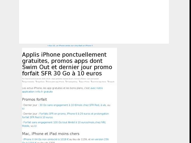 Applis iPhone ponctuellement gratuites, promos apps dont Swim Out et dernier jour promo forfait SFR 30 Go à 10 euros