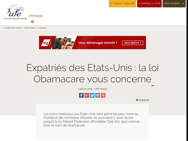 Expatriés des Etats-Unis : la loi Obamacare vous concerne