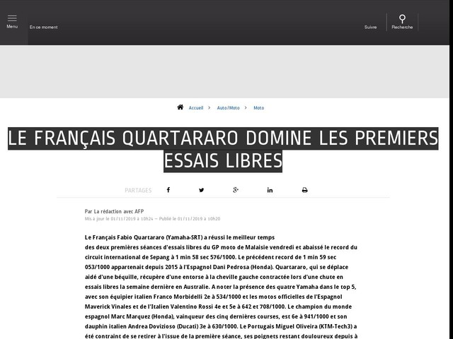 Auto/Moto - Le Français Quartararo domine les premiers essais libres