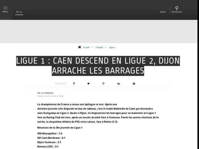 Football - Ligue 1 - Ligue 1 : Caen descend en Ligue 2, Dijon arrache les barrages