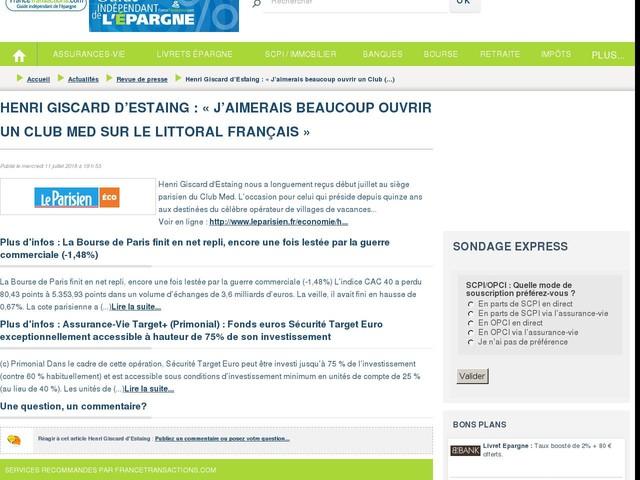 Henri Giscard d'Estaing : « J'aimerais beaucoup ouvrir un Club Med sur le littoral français »