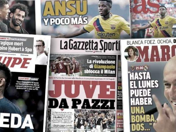 La presse espagnole s'enflamme pour Ansu Fati la nouvelle pépite du Barça, le match fou Juve-Napoli fait les gros titres en Italie