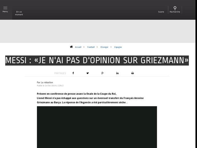 Football - Etranger - Messi : «Je n'ai pas d'opinion sur Griezmann»
