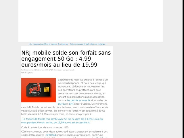 NRJ mobile solde son forfait sans engagement 50 Go : 4,99 euros/mois au lieu de 19,99