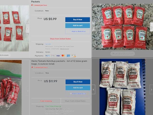 Face à la pénurie de Ketchup Heinz, des Américains revendent leurs sachets sur eBay