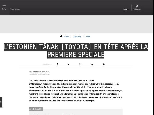 Auto/Moto - L'Estonien Tänak (Toyota) en tête après la première spéciale