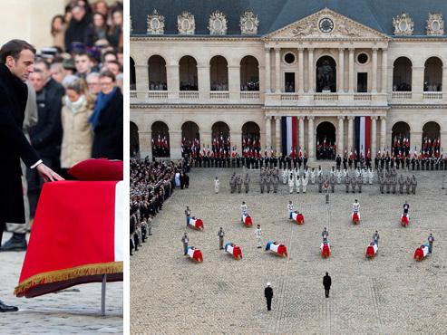 """La France rend hommage à ses 13 militaires morts au Mali: """"Je m'incline devant leur sacrifice"""""""