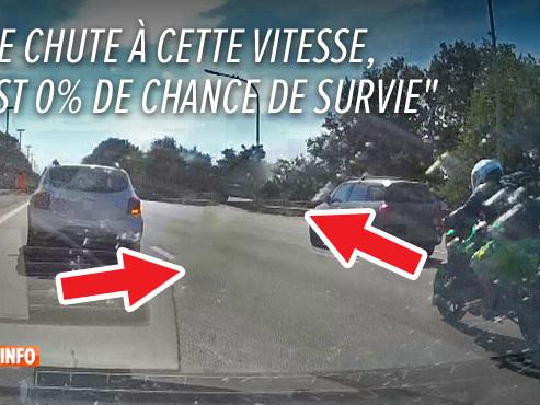 """""""Il a frôlé la mort"""": la dashcam de Benoît filme le dépassement inconscient d'un motard sur la E19 (vidéo)"""