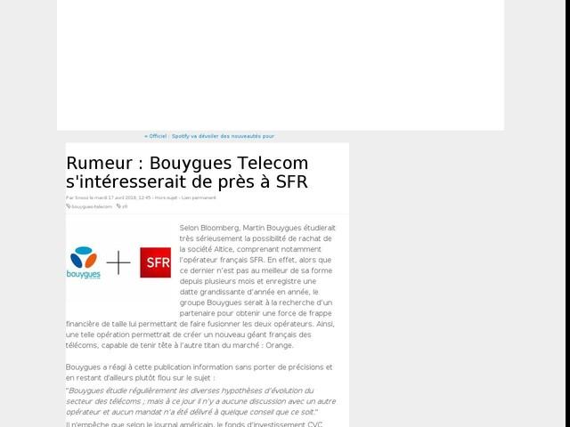 Rumeur : Bouygues Telecom s'intéresserait de près à SFR