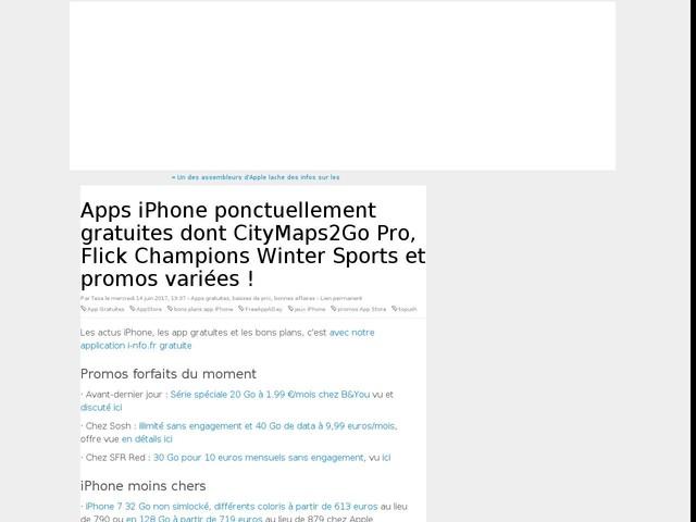 Apps iPhone ponctuellement gratuites dont CityMaps2Go Pro, Flick Champions Winter Sports et promos variées !