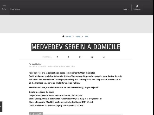 Tennis - ATP - Medvedev serein à domicile