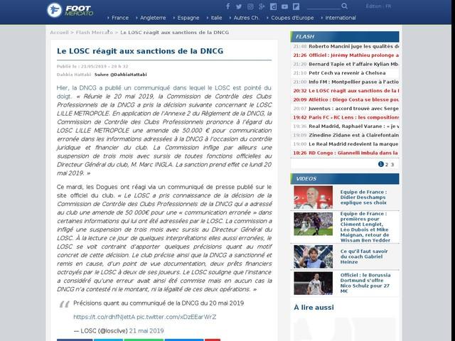 Le LOSC réagit aux sanctions de la DNCG