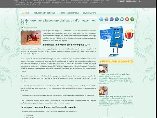 La dengue : vers la commercialisation d'un vaccin en 2015