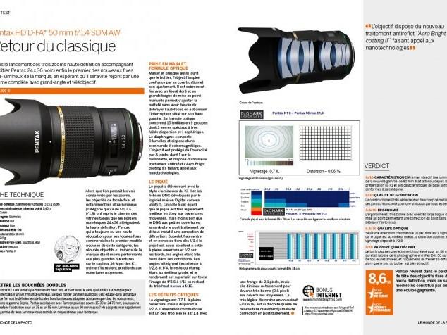 TEST : Pentax HD D-FA* 50 mm f/1,4 SDM AW [BONUS MDLP N°110]