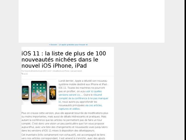 iOS 11 : la liste de plus de 100 nouveautés nichées dans le nouvel iOS iPhone, iPad
