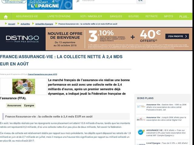 France/Assurance-vie : la collecte nette à 2,4 mds EUR en août