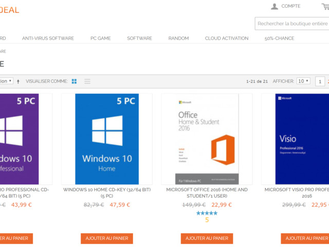 Windows 10 Pro à 9,67€, Office 2016 Pro à 24,91€ et Office 2019 à 43,19€ sur G2deal !