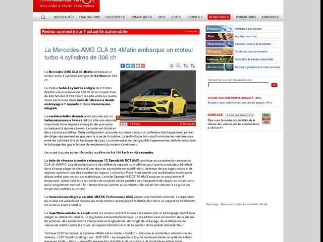 La Mercedes-AMG CLA 35 4Matic embarque un moteur turbo 4 cylindres de 306 ch