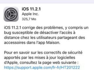 iOS 11.2.1 est maintenant dispo pour iPhone, iPad et iPod Touch