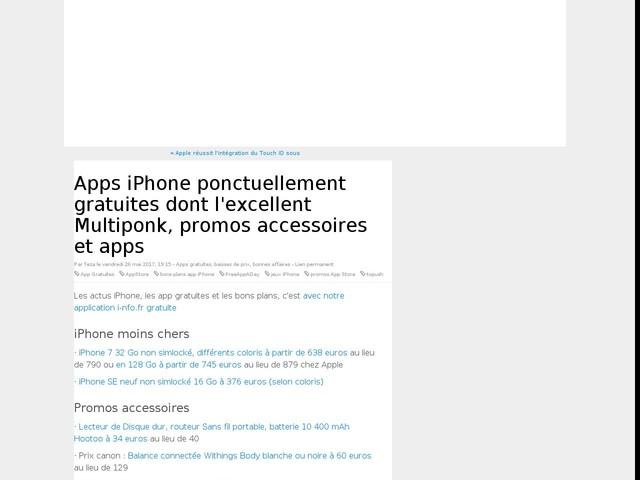 Apps iPhone ponctuellement gratuites dont l'excellent Multiponk, promos accessoires et apps