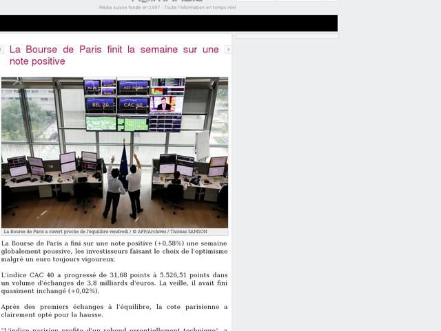 La Bourse de Paris finit la semaine sur une note positive