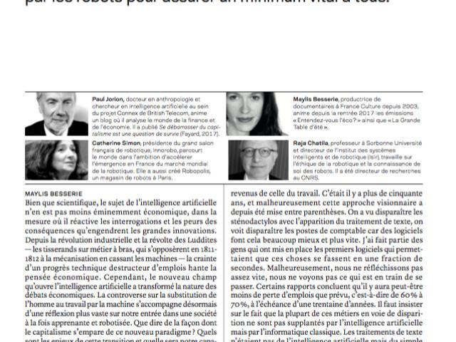 France Culture, Forum « L'intelligence artificielle, un choc industriel », à la Sorbonne le 31 mars 2018