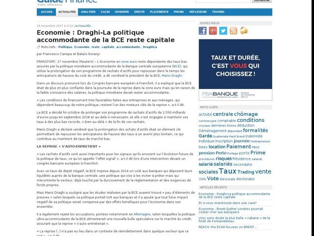 Economie : Draghi-La politique accommodante de la BCE reste capitale