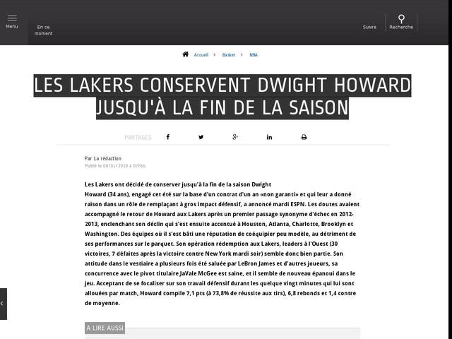 Basket - NBA - Les Lakers conservent Dwight Howard jusqu'à la fin de la saison