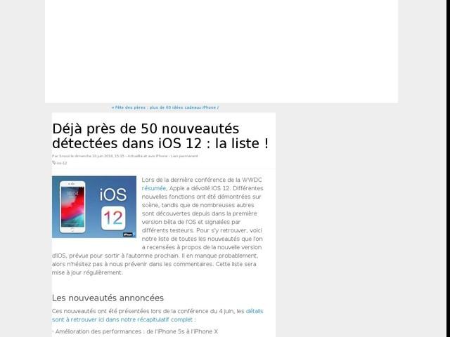 Déjà près de 50 nouveautés détectées dans iOS 12 : la liste !