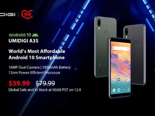 UMIDIGI lance le Umidigi A3S à 59,99 $, le Smartphone 4G Android 10 Stock le moins cher des le 9 Décembre