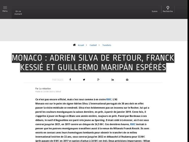 Football - Transferts - Monaco : Adrien Silva de retour, Franck Kessié et Guillermo Maripán espérés