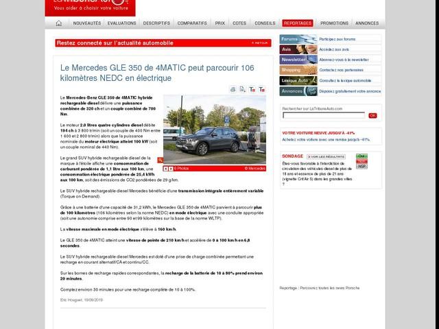 Le Mercedes GLE 350 de 4MATIC peut parcourir 106 kilomètres NEDC en électrique