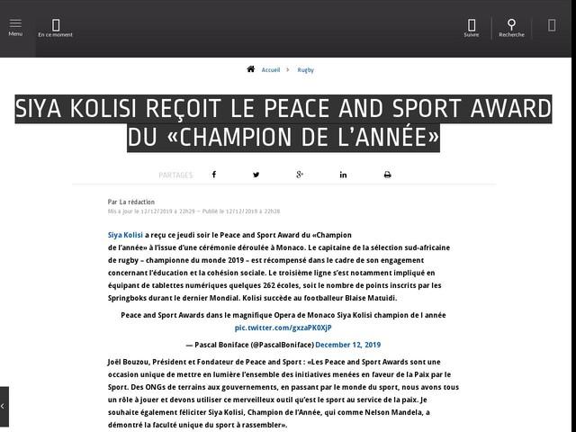 Rugby - Siya Kolisi reçoit le Peace and Sport Award du «Champion de l'année»