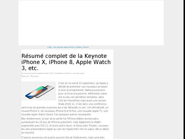 Résumé complet de la Keynote iPhone X, iPhone 8, Apple Watch 3, etc.