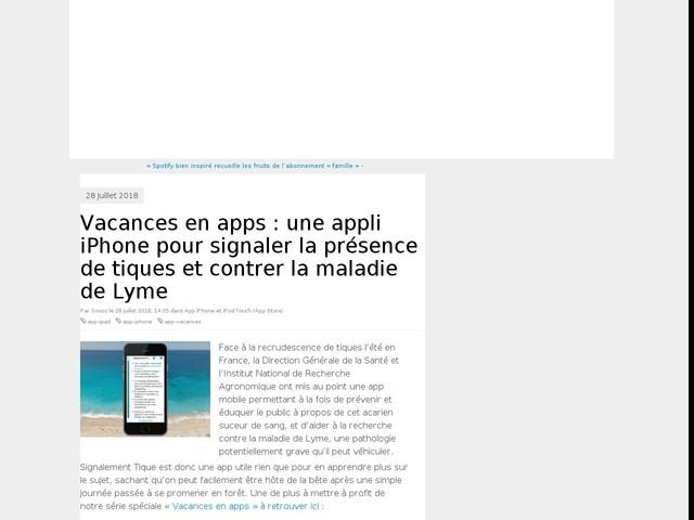 Vacances en apps #12 : une appli iPhone pour signaler la présence de tiques et contrer la maladie de Lyme