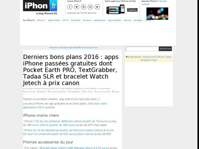 Derniers bons plans 2016 : apps iPhone passées gratuites dont Pocket Earth PRO, TextGrabber, Tadaa SLR et bracelet Watch Jetech à prix canon