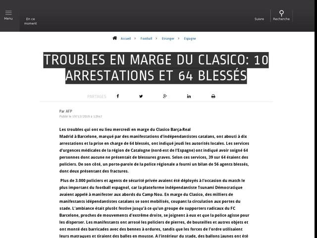 Football - Etranger - Troubles en marge du Clasico: 10 arrestations et 64 blessés