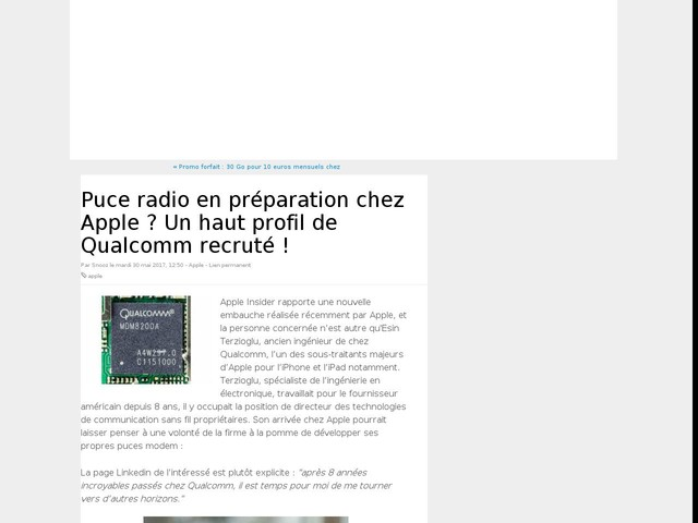 Puce radio en préparation chez Apple ? Un haut profil de Qualcomm recruté !
