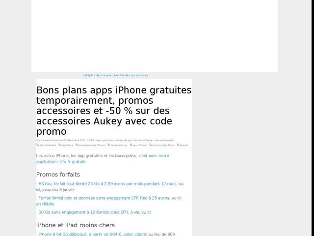 Bons plans apps iPhone gratuites temporairement, promos accessoires et -50 % sur des accessoires Aukey avec code promo