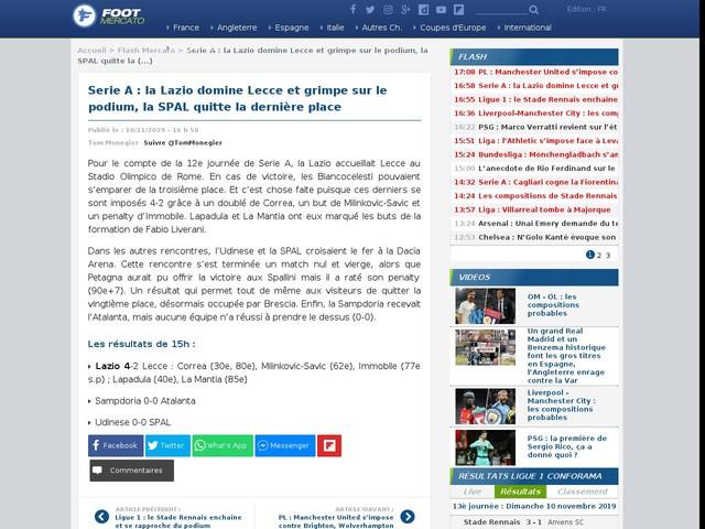 Serie A : la Lazio domine Lecce et grimpe sur le podium, la SPAL quitte la dernière place