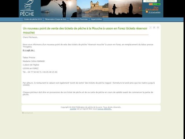 Un nouveau point de vente des tickets de pêche à la Mouche à usson en Forez (tickets réservoir mouche)