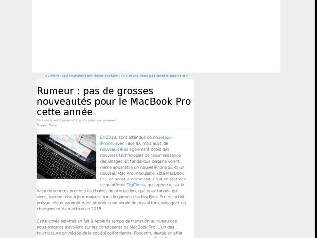 Rumeur : pas de grosses nouveautés pour le MacBook Pro cette année