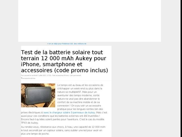 Test de la batterie solaire tout terrain 12 000 mAh Aukey pour iPhone, smartphone et accessoires (code promo inclus)