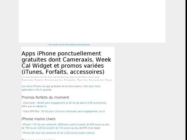 Apps iPhone ponctuellement gratuites dont Cameraxis, Week Cal Widget et promos variées (iTunes, Forfaits, accessoires)