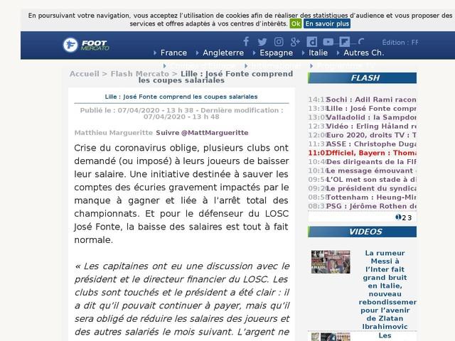 Lille : José Fonte comprend les coupes salariales