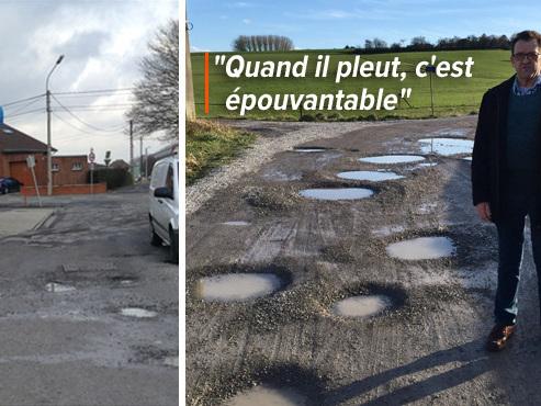 """Georges, un habitant de Châtelet, en a MARRE des trous dans sa rue: """"Nous avons mis 300 tonnes de graviers à nos frais"""""""