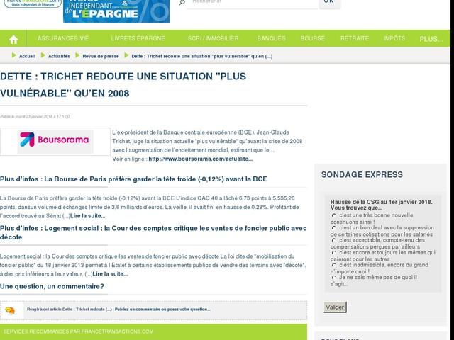 """Dette : Trichet redoute une situation """"plus vulnérable"""" qu'en 2008"""