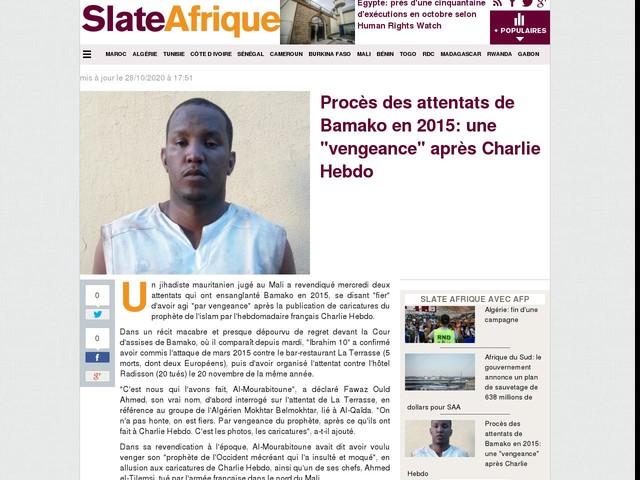 """Procès des attentats de Bamako en 2015: une """"vengeance"""" après Charlie Hebdo"""