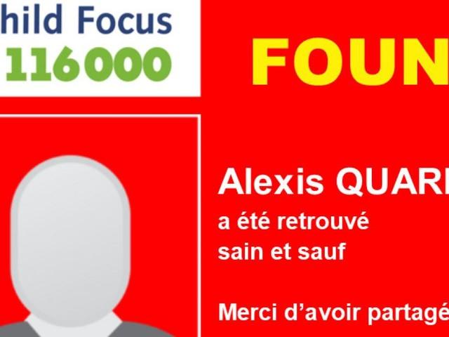 Charleroi: Alexis, 13 ans, a été retrouvé sain et sauf.